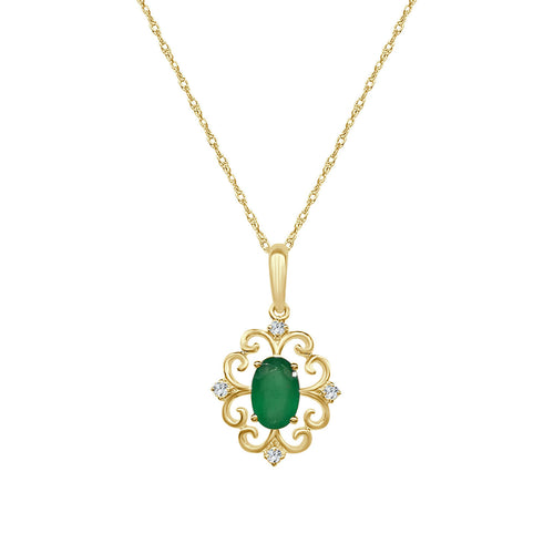 Emerald And Diamond Yellow Gold Fancy Scoll Pendant