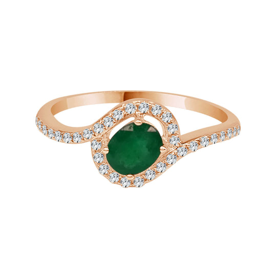 Rose Gold Emerald and Diamond Petite Halo Ring