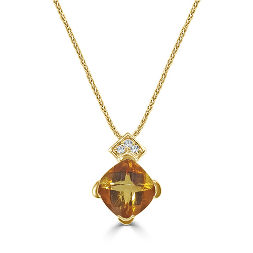 Fancy 3.50 Carat Citrine And Diamond Necklace