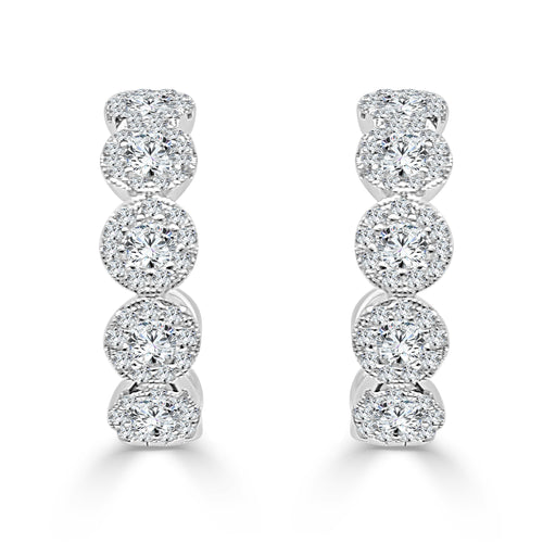 One Carat Diamond Halo Hoop Earrings
