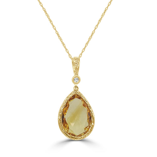 Pear-shaped Citrine Drop Necklace With Diamond
