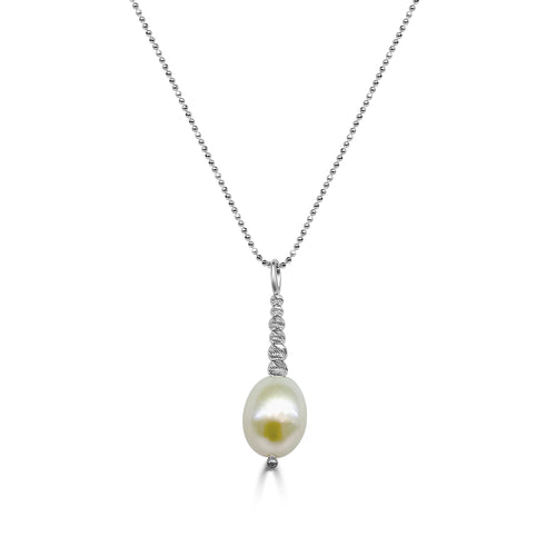 Freshwater Pearl And Diamond Cut Bead Drop Necklace