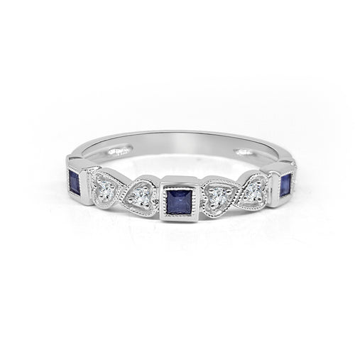 Square Sapphire And Diamond Fancy Band