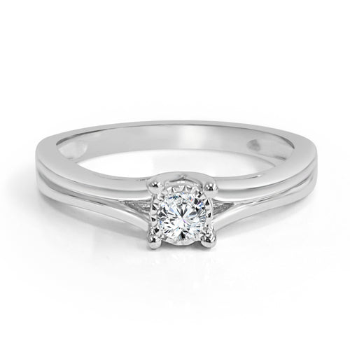 Round Diamond Solitaire Engagement Ring With Petite Split Shank