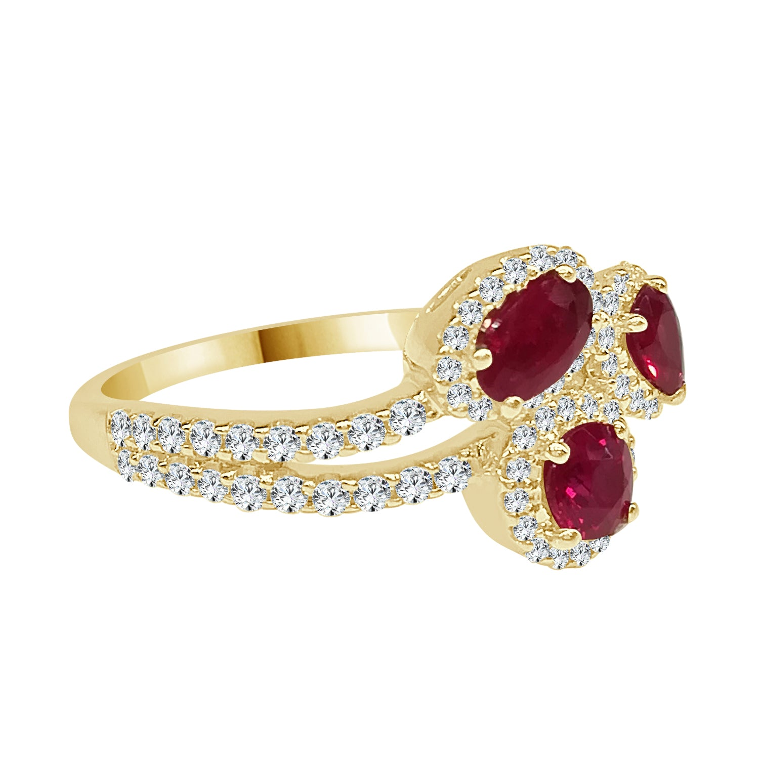 Fana Ruby and Diamond Yellow Gold Fancy Shape Multi Halo Ring