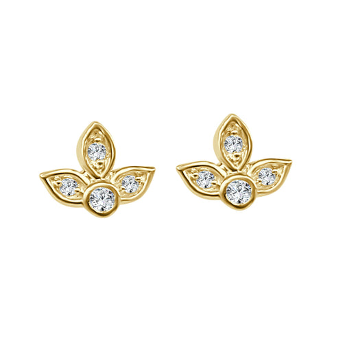 Floral Diamond Stud Earrings In Yellow Gold