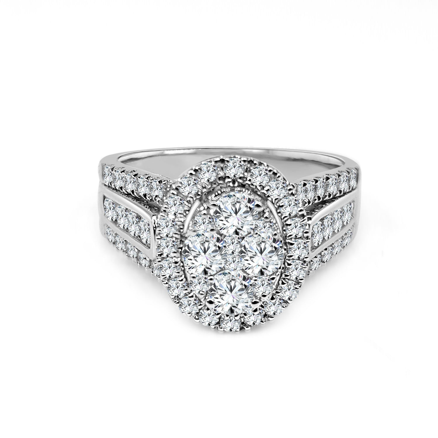 Oval Shaped Cluster Ring
