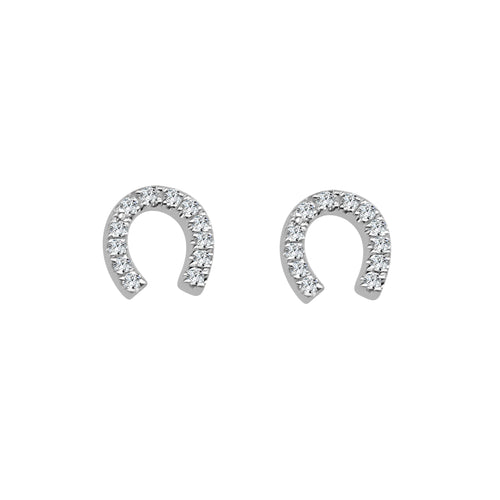 Shy Creations Diamond Horseshoe Stud Earrings