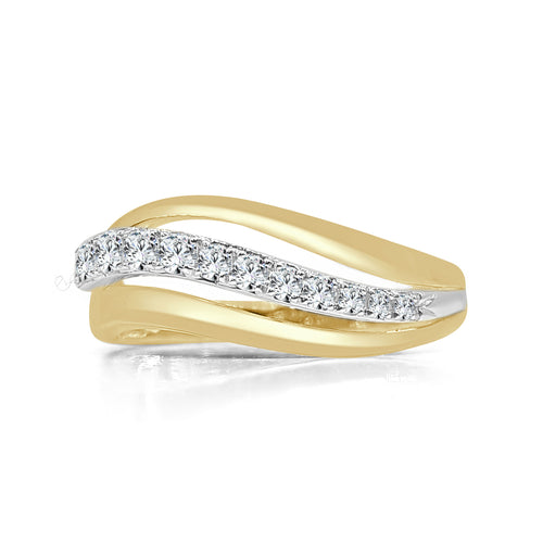 Diamond And Yellow Gold Fancy Wave Ring