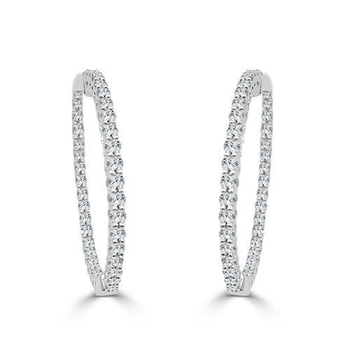 One Carat Diamond Inside Out Hoop Earrings