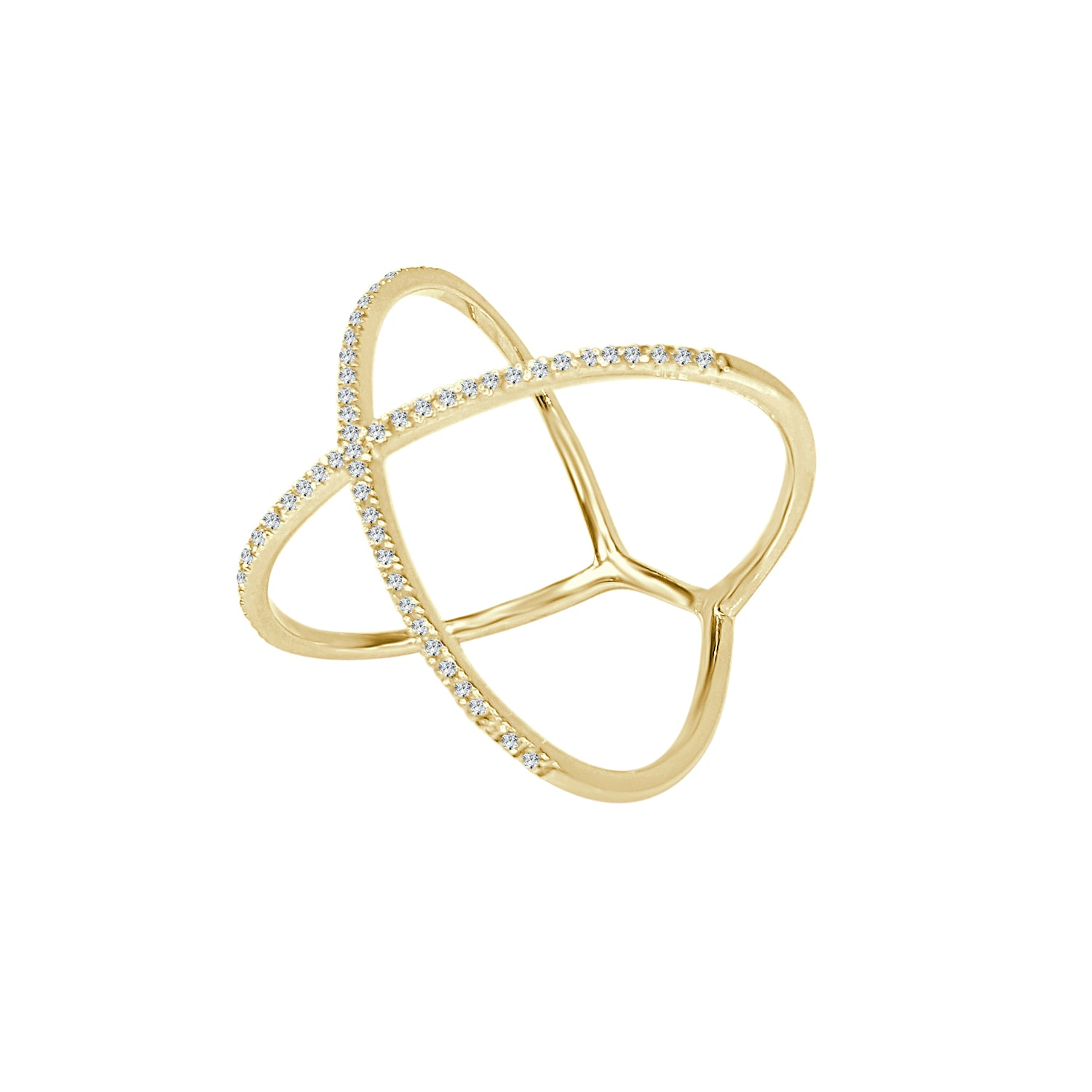 Shy Creations Diamond X Ring In Yellow Gold