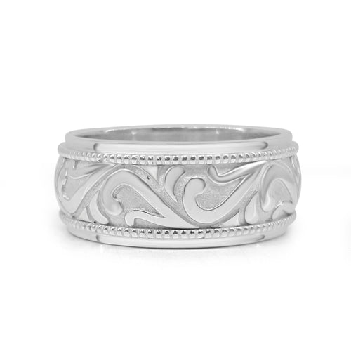 White Gold Scroll Band With Milgrain Edge
