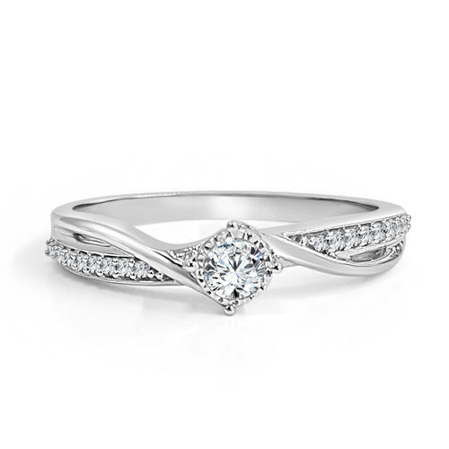 Diamond And Polished Petite Shank Bypass Engagement Ring