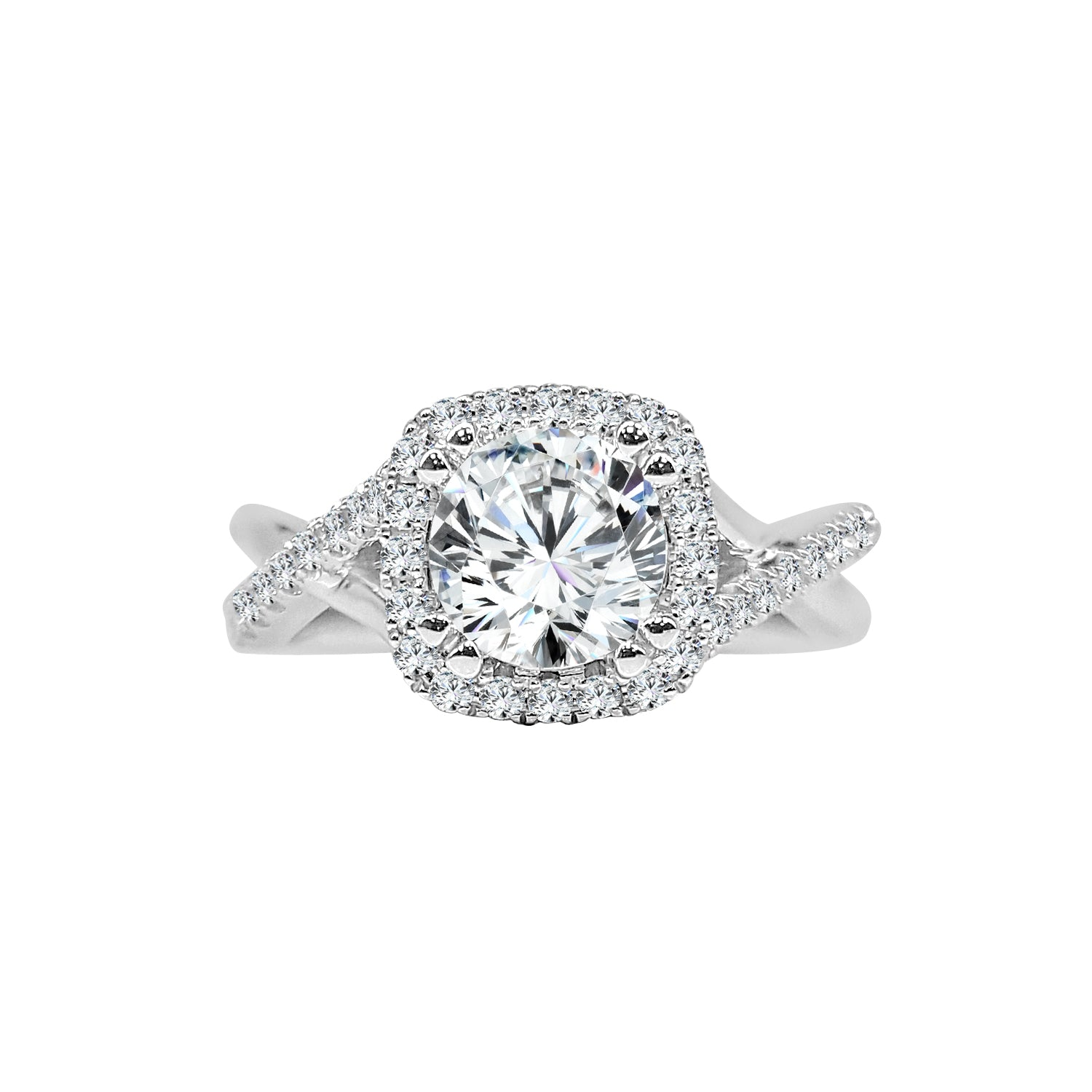 Fana Cushion Cut Halo Engagement Ring With Diamond And Smooth Twist Band