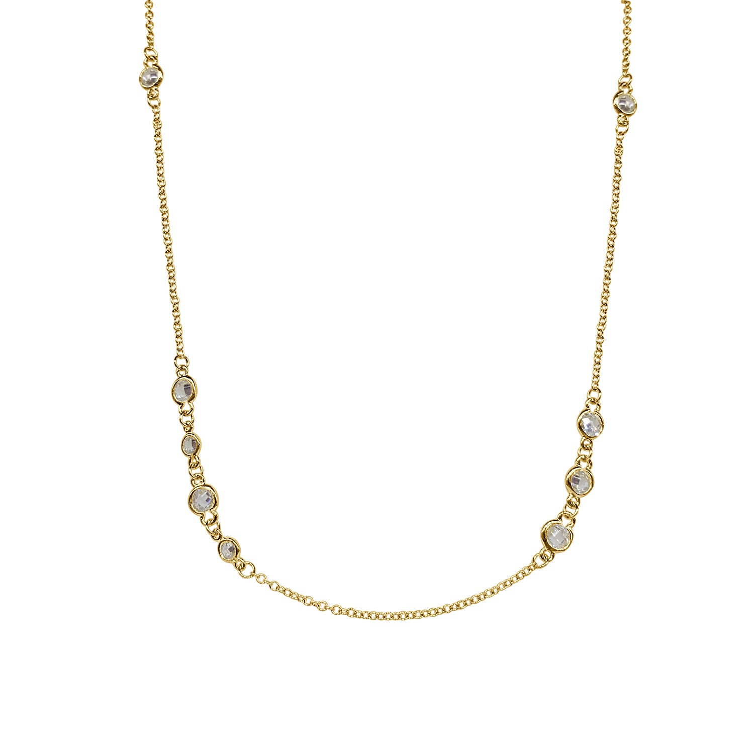 Freida Rothman Cluster Bezel Station Necklace
