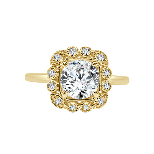 Round Diamond With Cushion Scalloped Halo