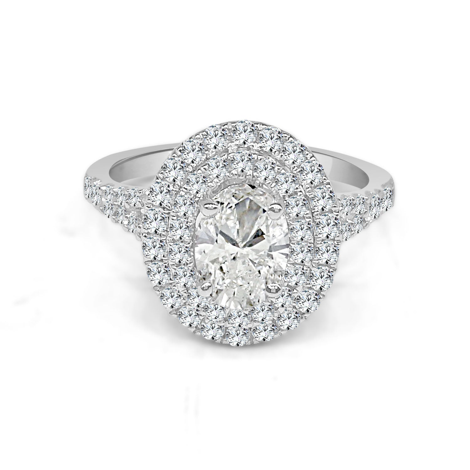 Oval Double 14 Karat White Gold 0.73 Carat Oval Diamond Halo Engagement Ring