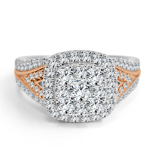 Two Tone Diamond Fancy Halo Engagement Ring