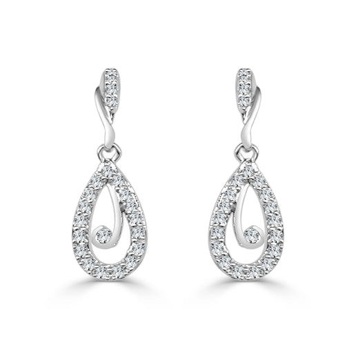 Diamond Swirl Teardrop Earrings