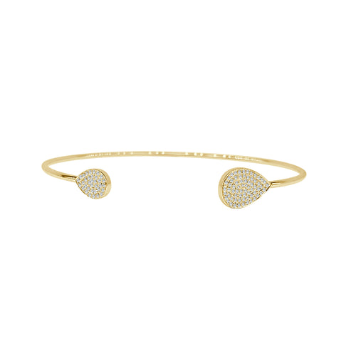Shy Creations Pave Diamond Teardrop Open Bangle