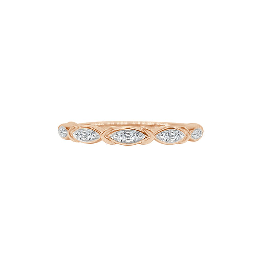 Rose Gold Diamond Fancy Stack Band
