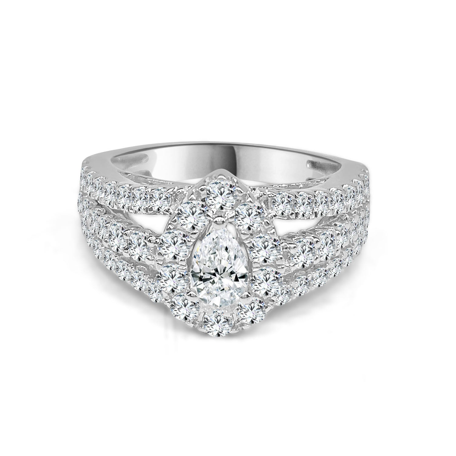 Diamond Pear Shape Halo Ring With Triple Band