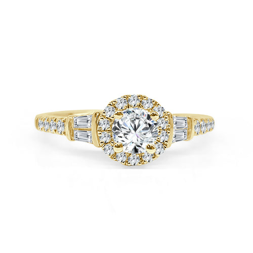 Round Diamond With Halo And Fancy Yellow Gold Band