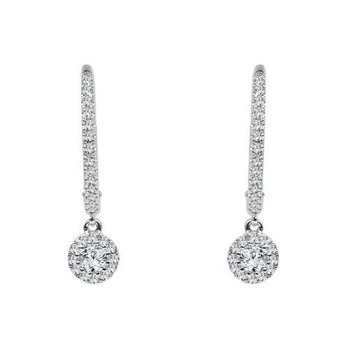 Shy Creations Diamond Pave Drop Earrings In White Gold