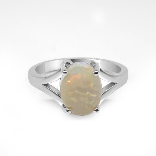 Oval Opal Ring With Split Shank