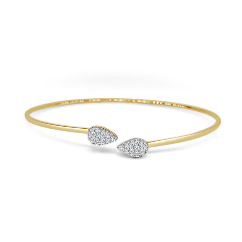 Pave Diamond Pear Shaped Open Bangle