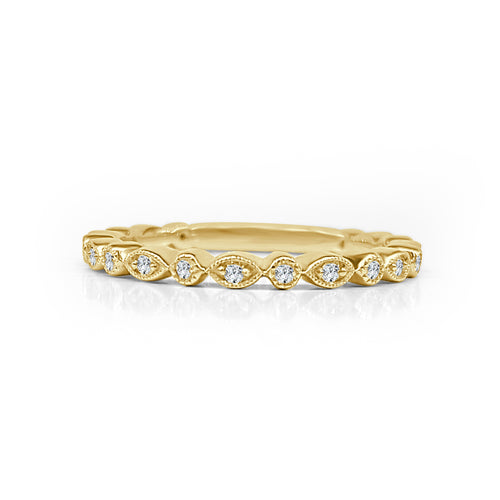 Yellow Gold Fancy Antique Diamond Stack Band