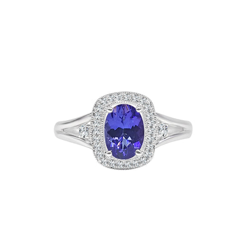 Oval Tanzanite Ring With Diamond Halo And Split Band