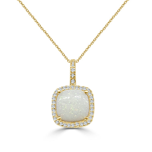 Round Opal Pendant With Cushion Diamond Halo