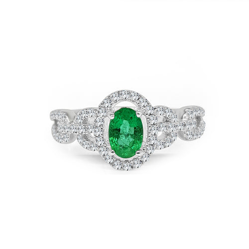 Fana Oval Emerald With Fancy Link Diamond Band