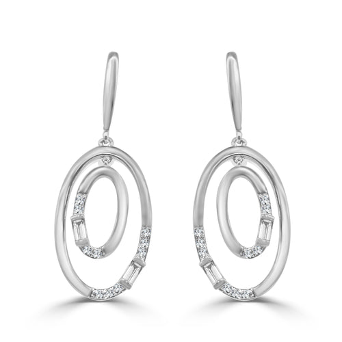 Concentric Oval Diamond Dangle Earrings