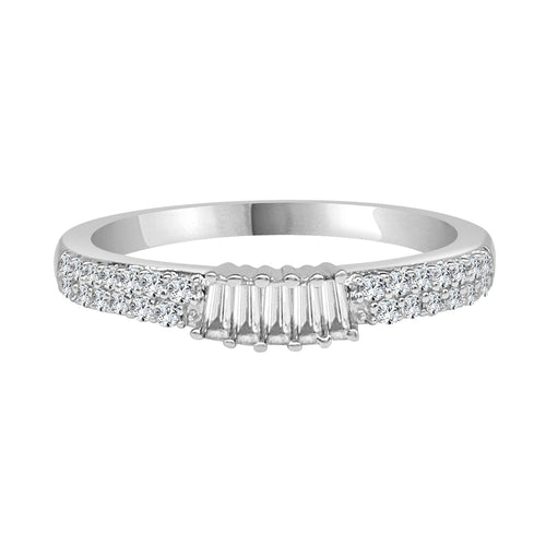 Round and Baguette Diamond Fancy Prong Set Band