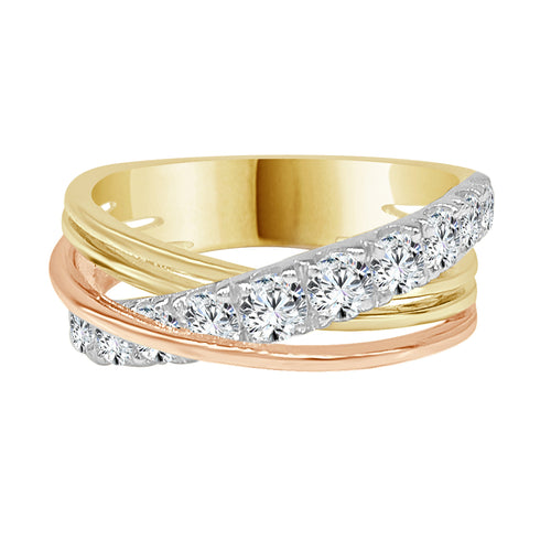 Diamond Tricolor Gold Crossover Ring