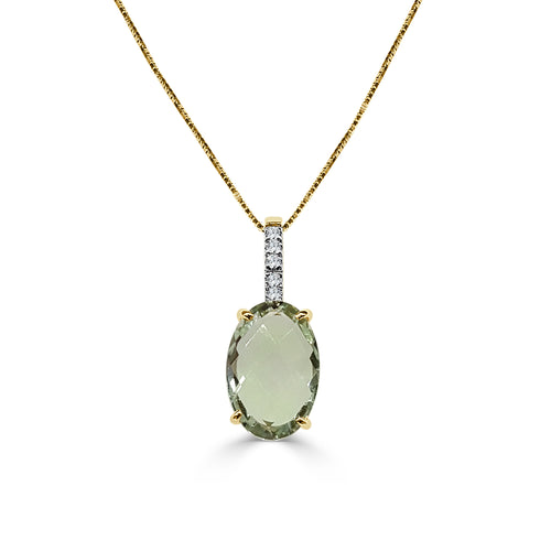 Green Amethyst And Diamond Necklace