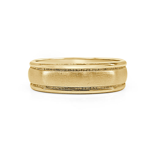 Comfort Fit Wedding Band With Brushed Finish Milgrain And Rolled Edges