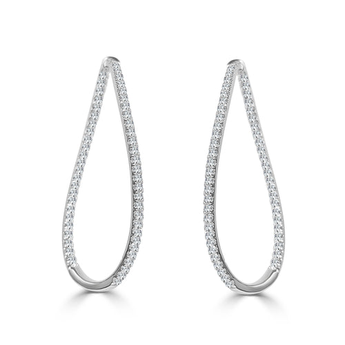 Fancy Swoop 1.52 Carat Diamond Hoops