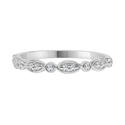 Diamond Fancy Stack Band In White Gold