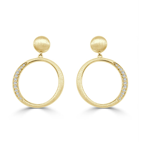 Satin Finish Round Diamond Earrings In Yellow Gold