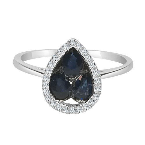 Sapphire Cluster and Tear Drop Diamond Halo Ring