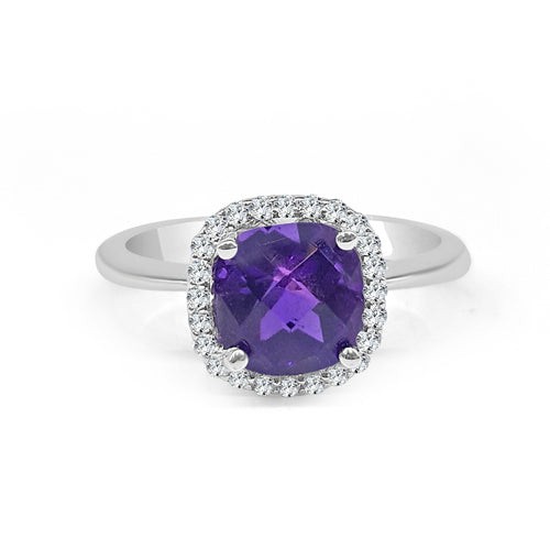 Amethyst With Diamond Halo Ring