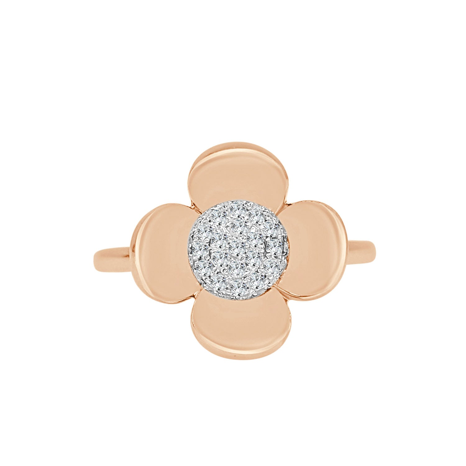 Round Cluster Diamond Flower Ring In Rose Gold