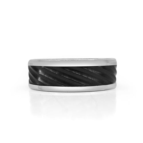 Titanium Band With Black Twist Inlay
