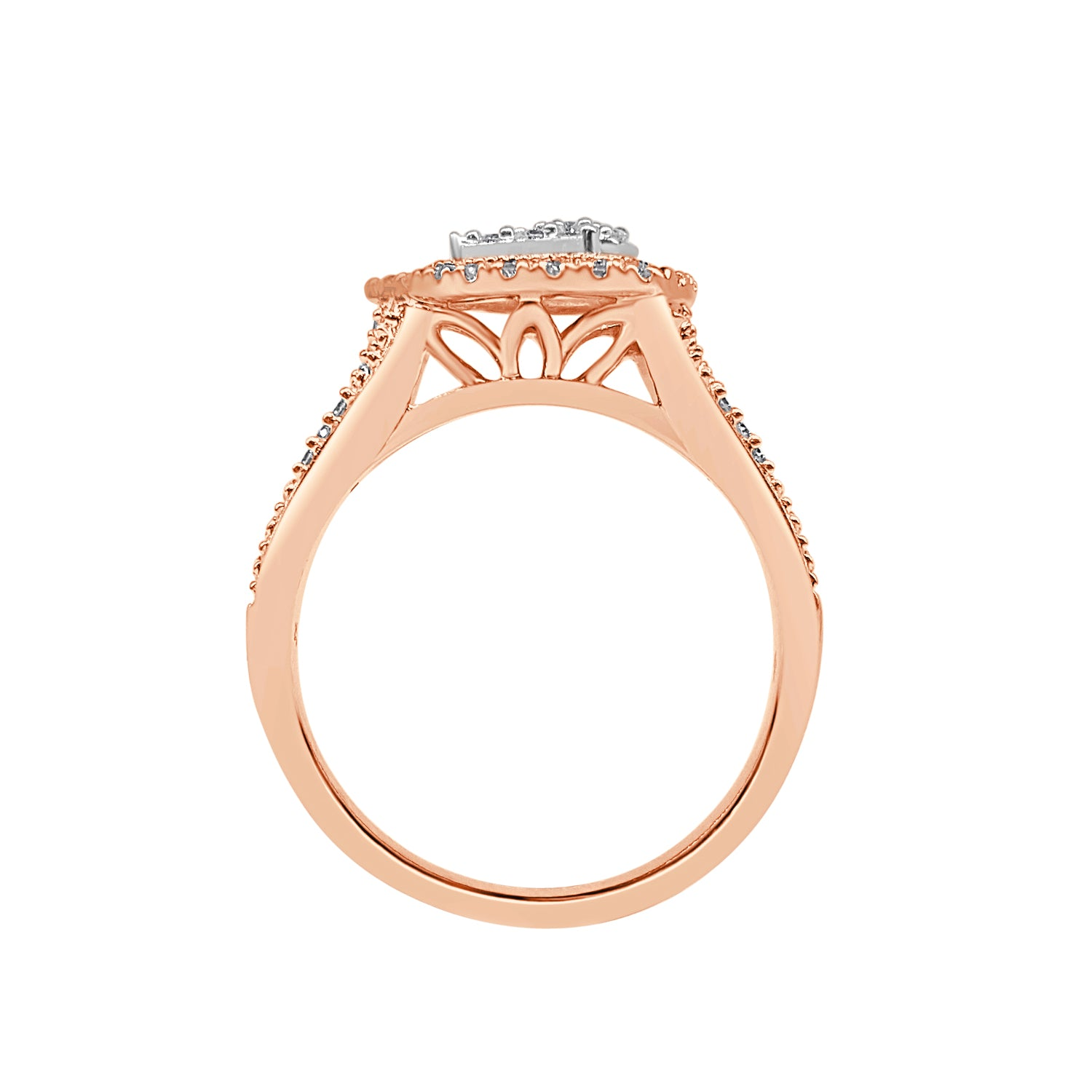 Sideways Pear Shape Halo Ring With Split Band