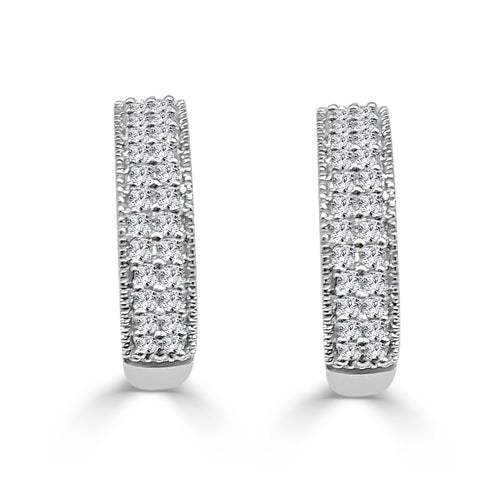 Double Row Diamond Huggie Earrings