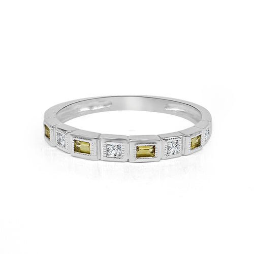 Citrine And Square Diamond Fancy Band