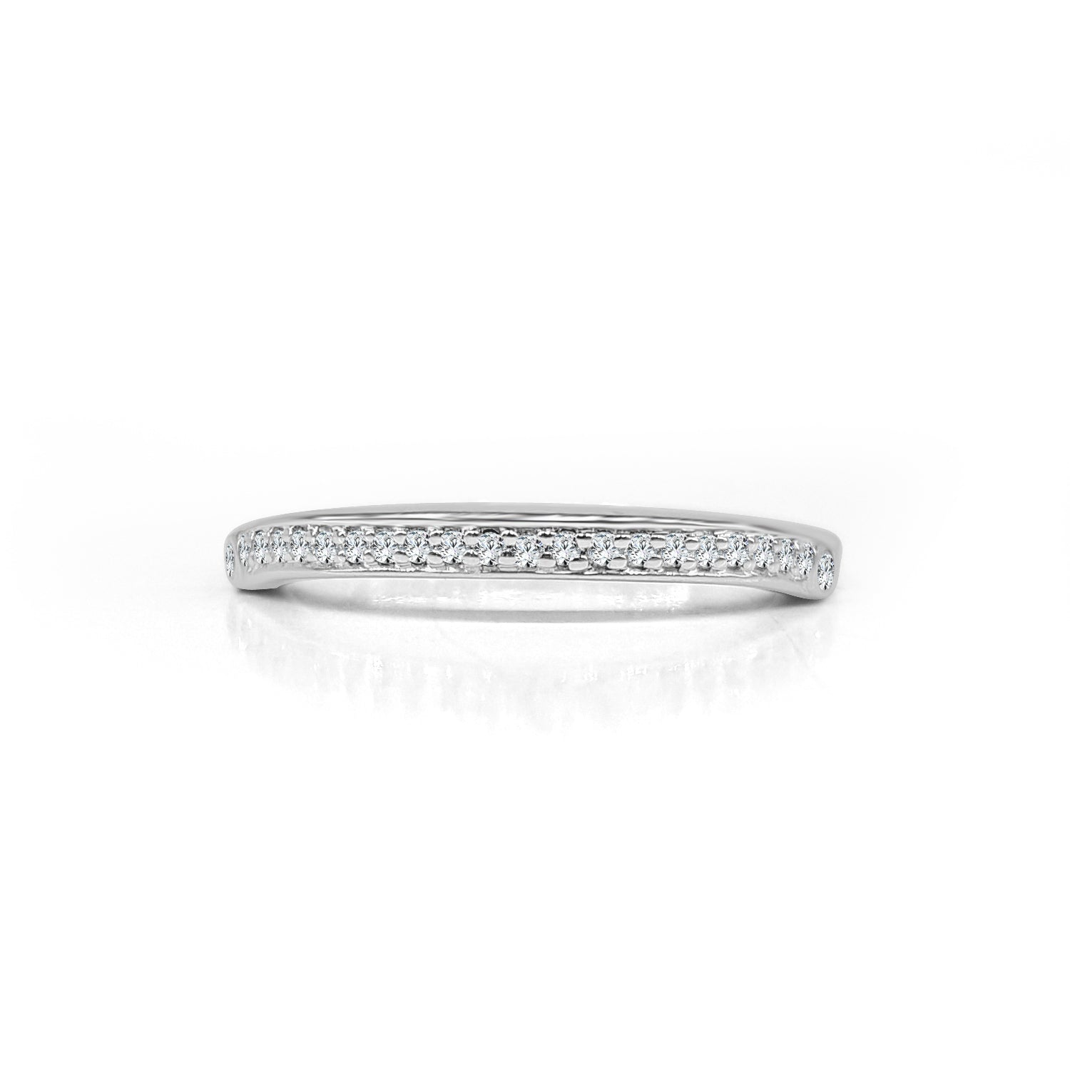 Round Bead Set Diamonds And Diamond Bezel Set Wedding Band